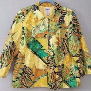 Chico's Jacket Size 3 XL L Leaf Pattern